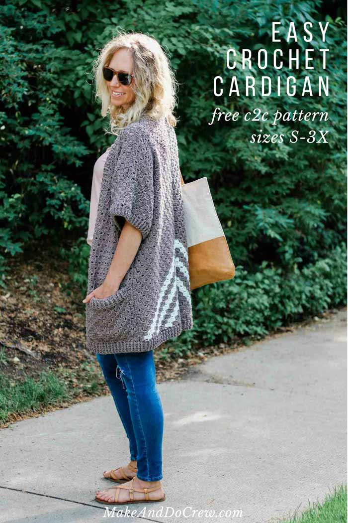 Easy C2c Crochet Kimono Sweater Made From Rectangles Free Pattern