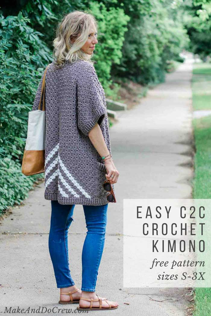 Learn how to make this easy pocketed crochet kimono pattern (with plus sizes!) made from three simple rectangles! Free c2c crochet pattern and tutorial.