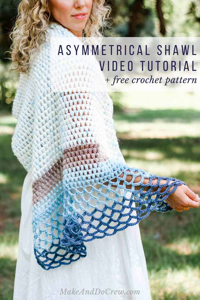 This crochet shawl video tutorial and free pattern will teach you how to make an easy asymmetrical triangle scarf you can enjoy at the beach, a wedding or even in the winter. Featuring Lion Brand Mandala and Ice Cream yarn.
