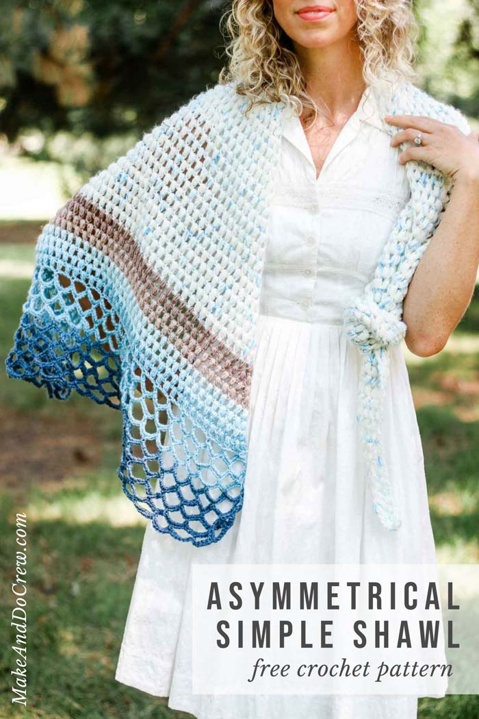 Rising Tide Asymmetrical Crochet Triangle Shawl Free Pattern