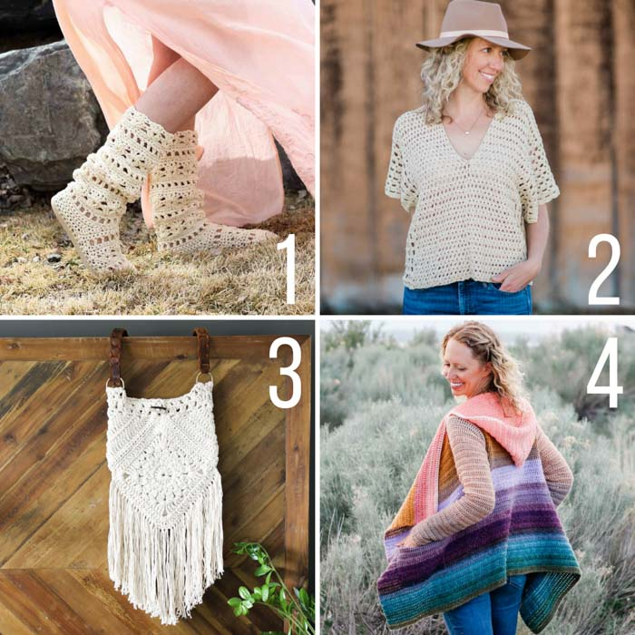 Free boho crochet patterns including crochet hippie boots, poncho top, boho bag and easy hooded sweater. All feature Lion Brand yarn.