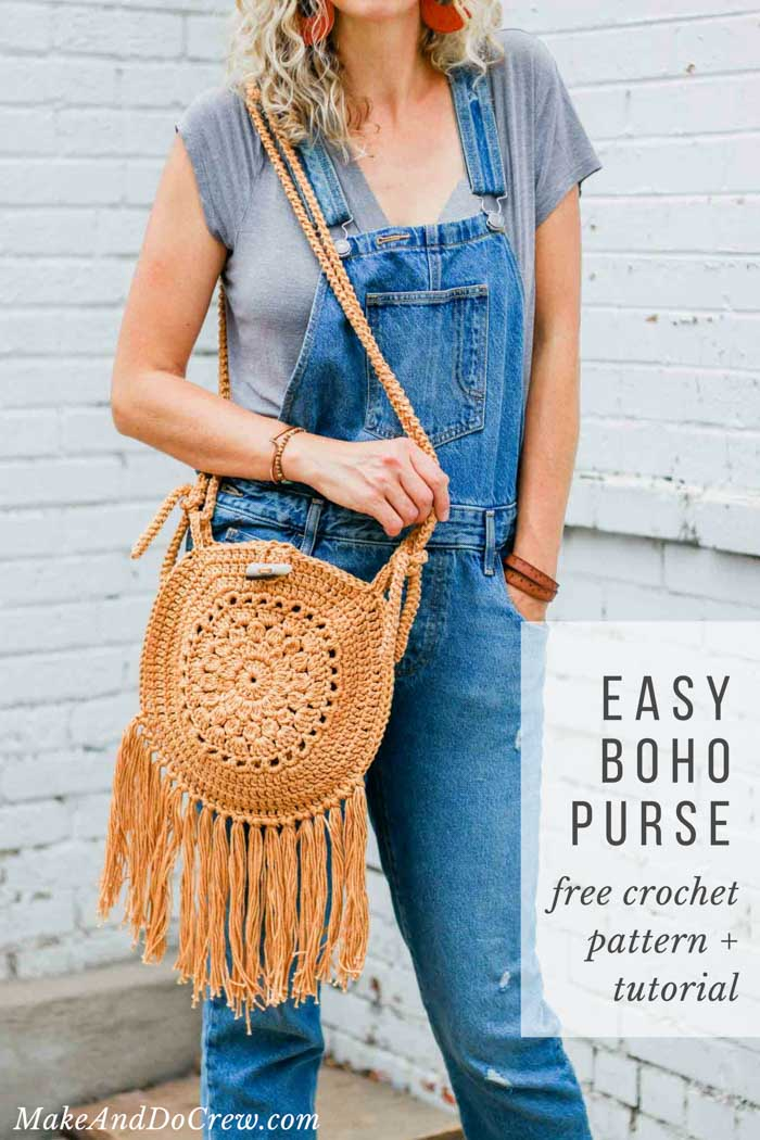 Easy Crochet Boho Circle Purse Pattern Free Pattern Video Tutorial