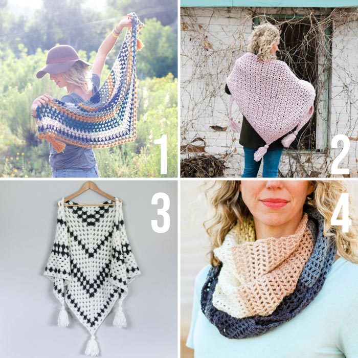 Free crochet shawl patterns and easy crochet triangle scarf patterns from Make and Do Crew. All featuring Lion Brand Yarn.