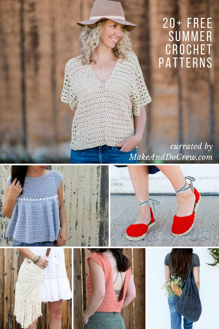 Update your warm weather wardrobe with this collection of free spring and summer crochet patterns including crochet shoes, tops, purses, bags and kimonos.
