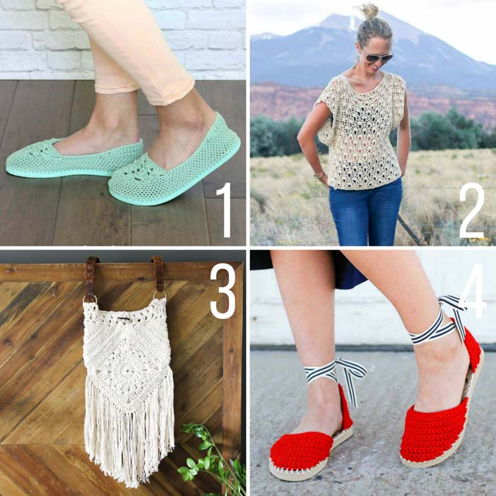 Free summer crochet patterns from Make & Do Crew including crochet shoes with flip flop soles, and boho purse and a loose, drapey lace top.