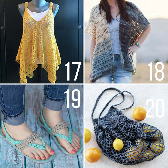 Free crochet patterns for spring and summer including a market tote bag, flip flop sandals, a kimono and a granny stitch tank top.