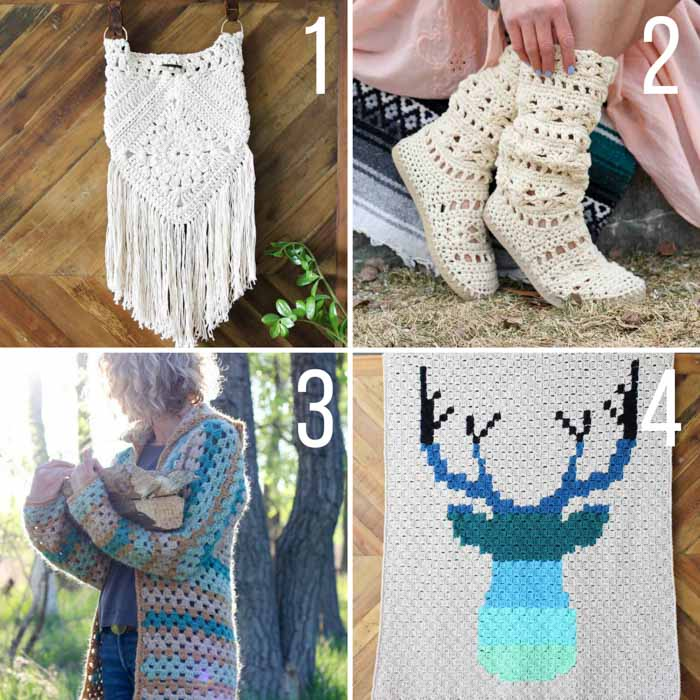 Free crochet patterns from Make & Do Crew featuring Lion Brand Yarn including a purse, crochet boots, a hexagon sweater and a c2c deer blanket.