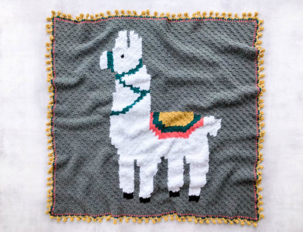 Make this adorable alpaca or llama corner-to-corner crochet blanket using the free graph pattern and video tutorials. This c2c afghan is perfectly sized for a baby blanket or adult throw.