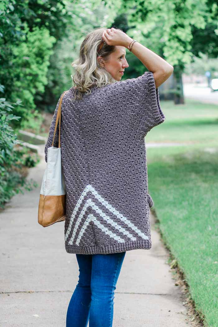 Video tutorial: How to make a C2C crochet cardigan from simple rectangles. Free pattern and tutorial featuring Lion Brand ZZ Twist.