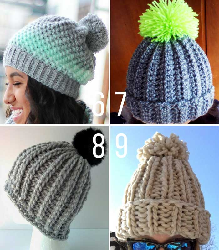 Free chunky hat patterns to crochet and knit with pom poms.