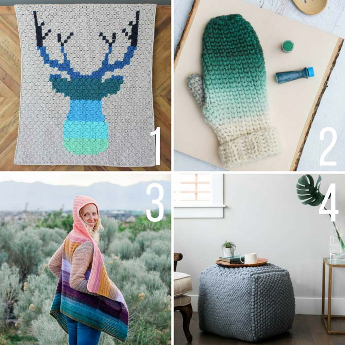 Free ombre crochet patterns using Lion Brand Yarn including a sweater, a c2c deer afghan and a mitten pattern.