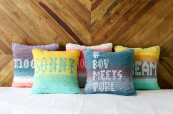 Free crochet pillow pattern made with Lion Brand Mandala Yarn. Personalized cross stitch messages adorn each crochet pillow front.