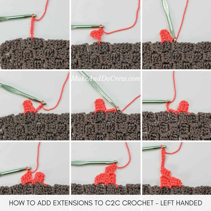 Learn how to seamlessly add pieces of c2c crochet to an existing piece of c2c crochet. Left handed tutorial featuring Lion Brand ZZ Twist.