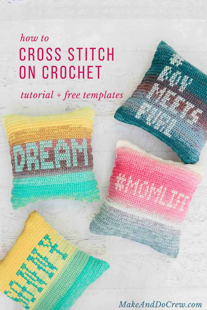 So fun! This tutorial teaches you the easy technique of cross stitching on crochet fabric to personalize pillows, hats and other free crochet patterns. Featuring Lion Brand Mandala and Cupcake yarn.