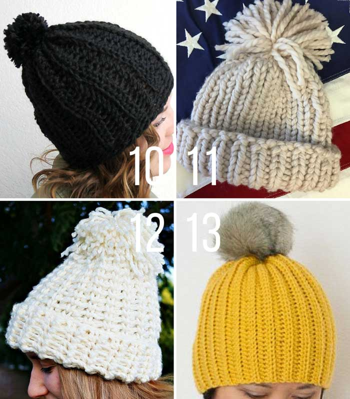 The four ribbed knit and crochet chunky beanie patterns are all free and inspired by the style athletes are wearing at the Winter Olympics.