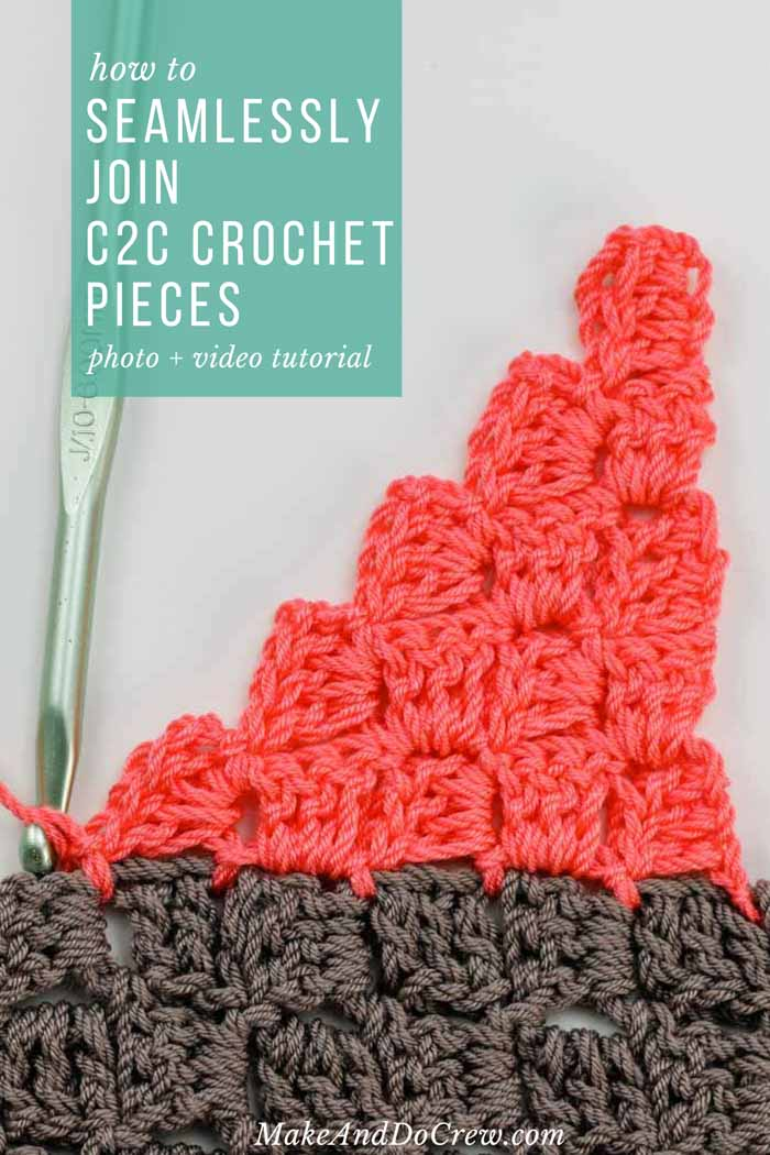 In this video tutorial, learn how to join corner-to-corner crochet pieces together without a visual seam (and with no actual sewing!) This method will help you piece together squares and rectangles to make more complex shapes (like sweaters) or simply allow you to seamlessly join C2C crochet afghan squares.