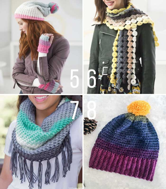 Free crochet patterns to make with cake yarns like Lion Brand Mandala. Free crochet patterns include mittens, scarves, cowls and a beanie.