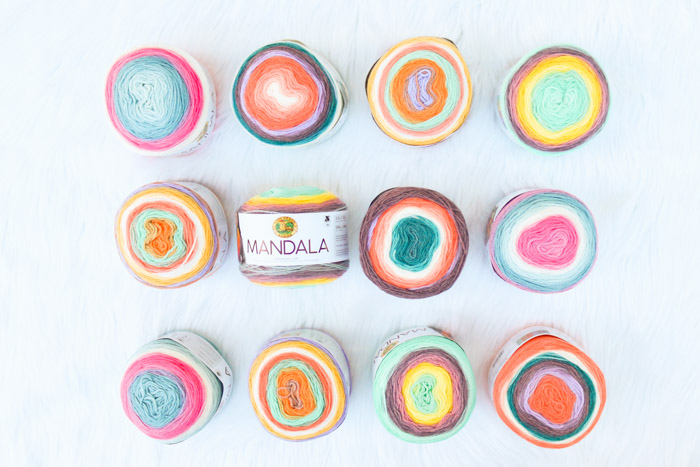 Colors of Lion Brand Mandala yarn.