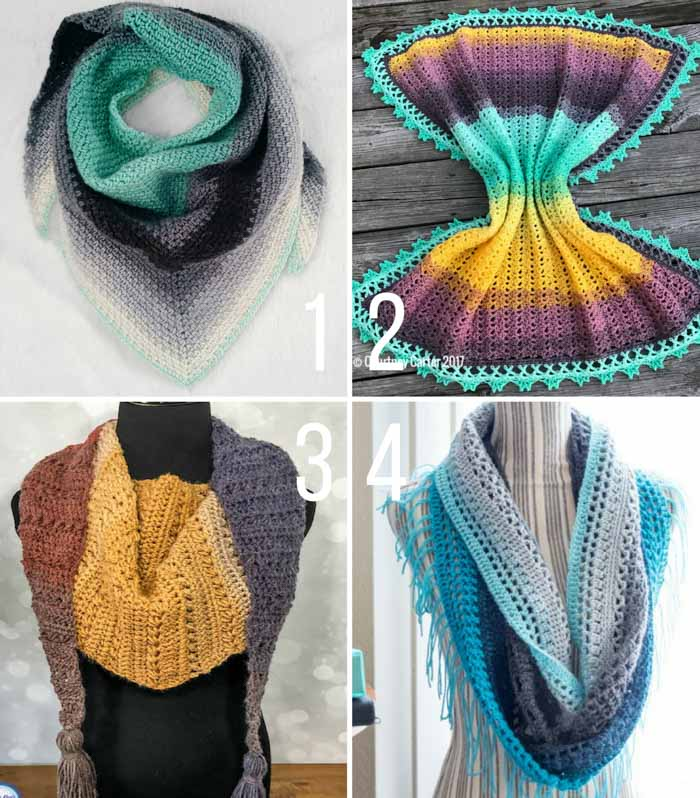 Free crochet patterns featuring Lion Brand Mandala yarn including a baby blanket, shawl, scarf and cowl.