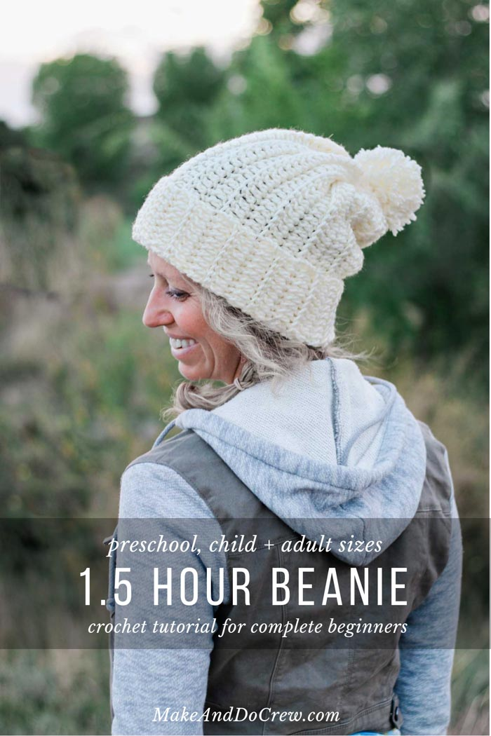 1 Hour Easy Child's Crochet Hat Pattern (with Adult Sizes