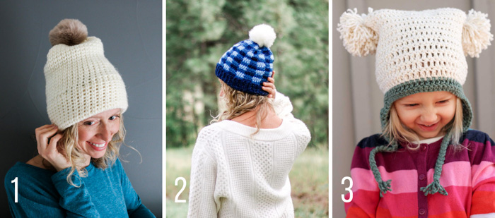 Free crochet hat and beanie patterns from Make & Do Crew for babies, kids (children) and adults (men and women).