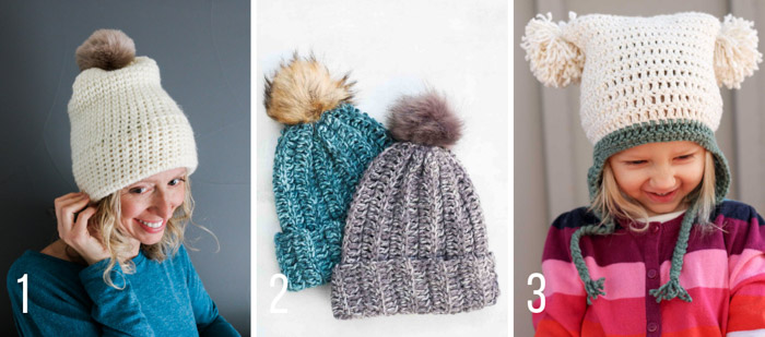 Free crochet hat and beanie patterns from Make & Do Crew featuring fluffy fur and yarn pom poms.