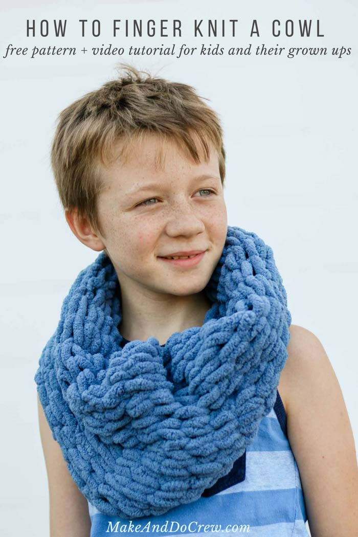 Learn how to finger knit using Lion Brand Off the Hook yarn while you make a very easy finger knitted cowl. This step-by-step video instructions and free pattern is a perfect beginner project for both girls, boys and adults.