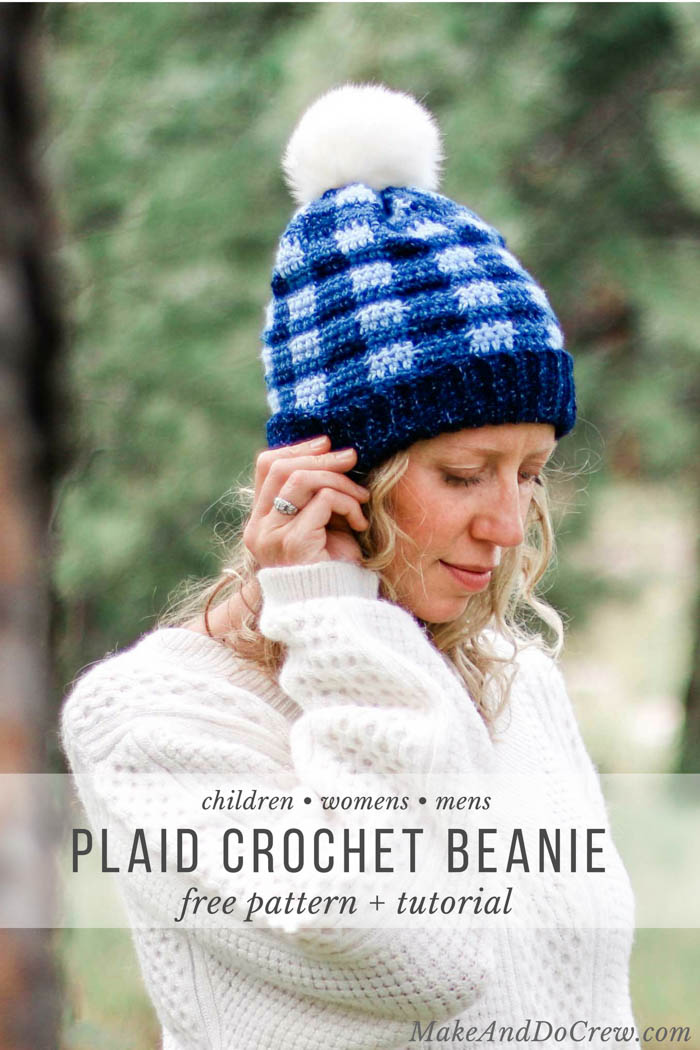 Free Crochet Plaid Hat Pattern For Kids Women Men Make Do Crew