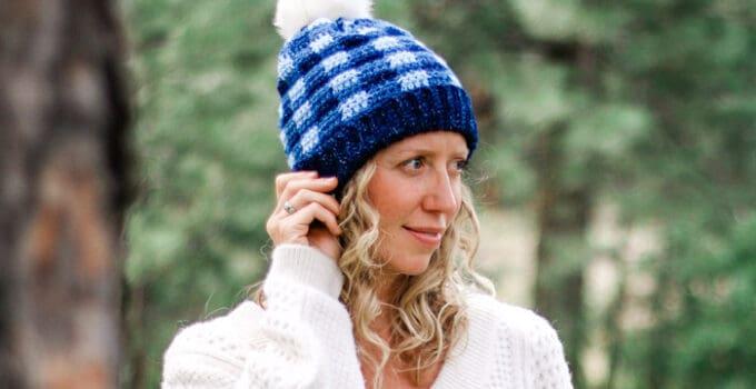 Free Crochet Plaid Hat Pattern for Kids, Women + Men