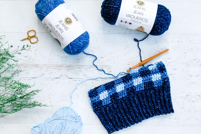 Free crochet plaid beanie pattern in progress using Lion Brand Jeans yarn for the Hat Not Hate (#HatNotHate) campaign.