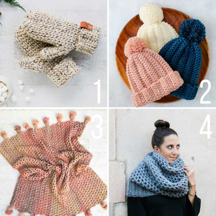 Four fast crochet project ideas including free patterns for mittens, a simple beanie, a tasseled afghan and a chunky cowl.