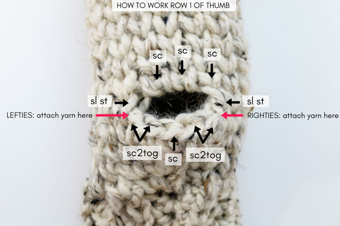 How to crochet chunky mittens for women in the round. Full tutorial and free pattern.