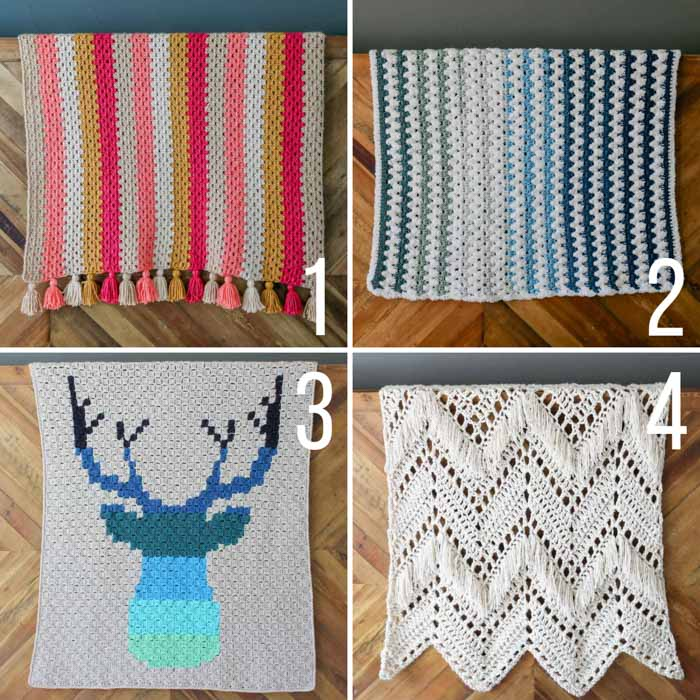 Free crochet blanket patterns including granny stitch afghans, a c2c crochet deer blanket, and a fringed afghan. All free crochet patterns using Lion Brand Yarn.