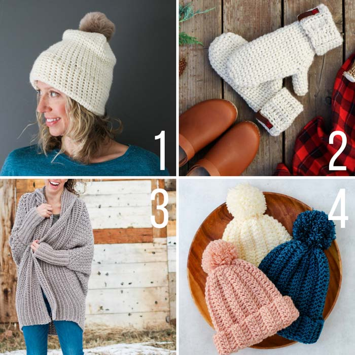Free crochet patterns using Lion Brand yarn including a beginner sweater, very easy beanie, and mittens that look knit.