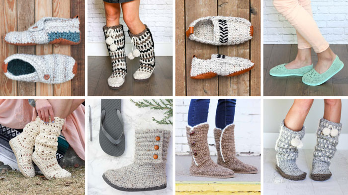 Free crochet slipper patterns and shoe patterns using Lion Brand yarn. Lots of photo and video tutorials from Make and Do Crew.