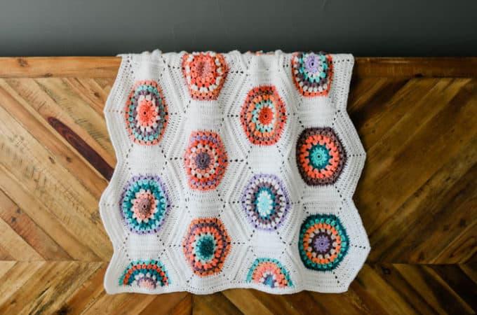 Grandmother's Flower Garden Crochet Hexagon Blanket