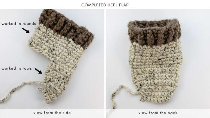 How to crochet slipper socks tutorial with instructions on working the heel.