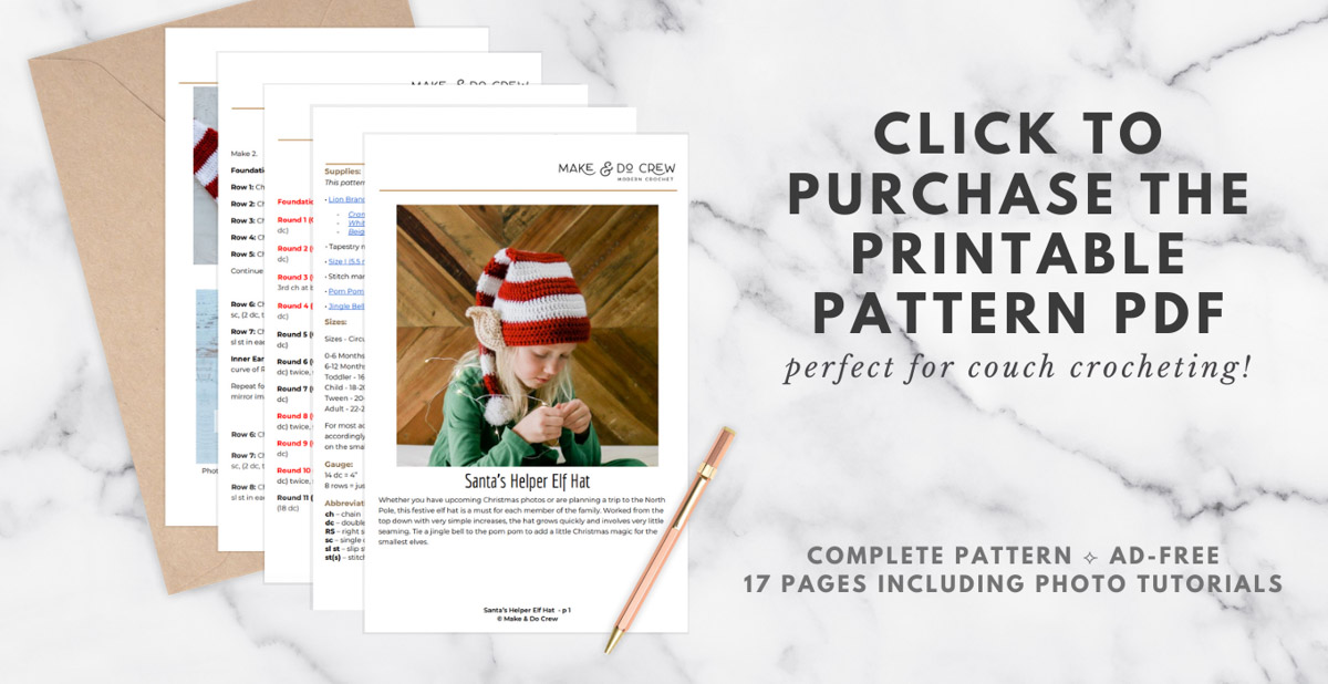 A download for a printable crochet elf hat pattern