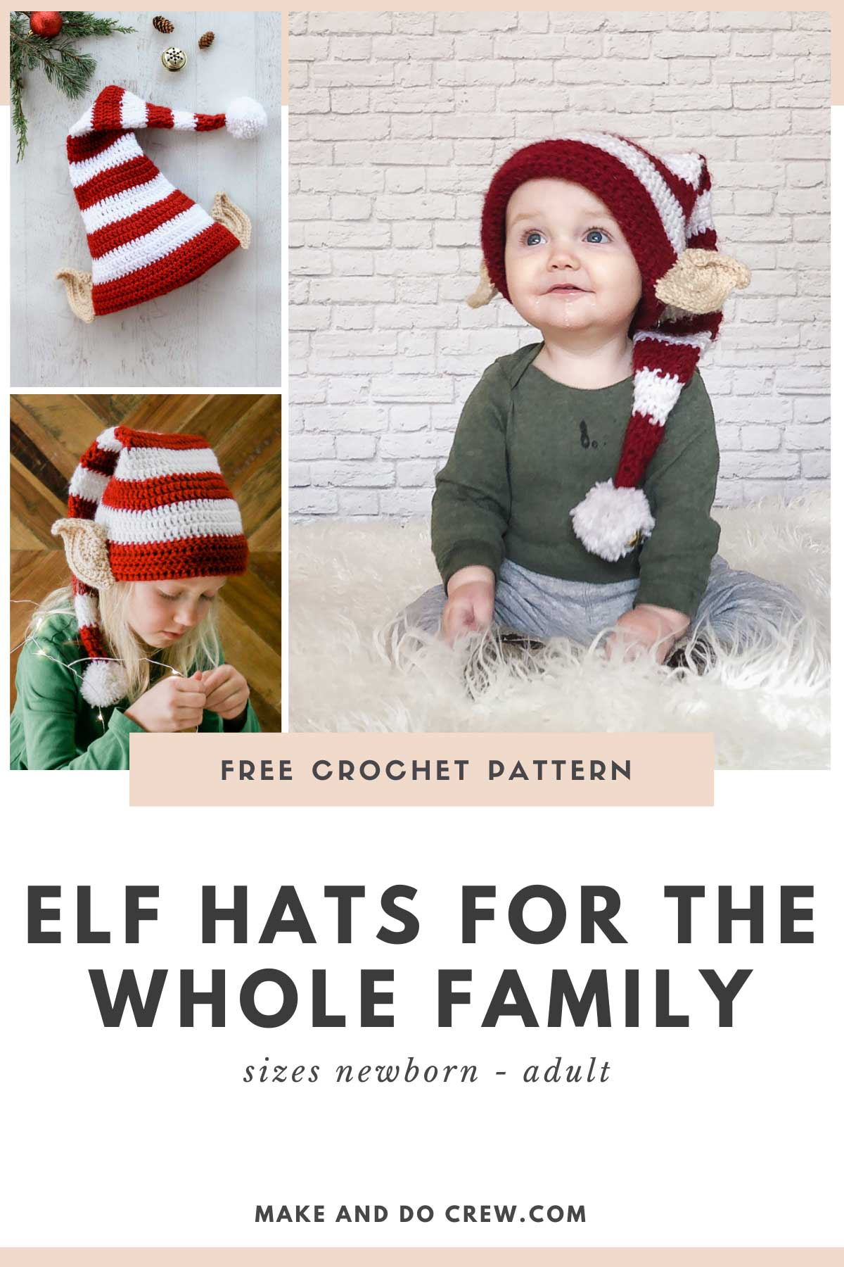 Young children wearing a crochet elf hat pattern with ears designed by Make & Do Crew.