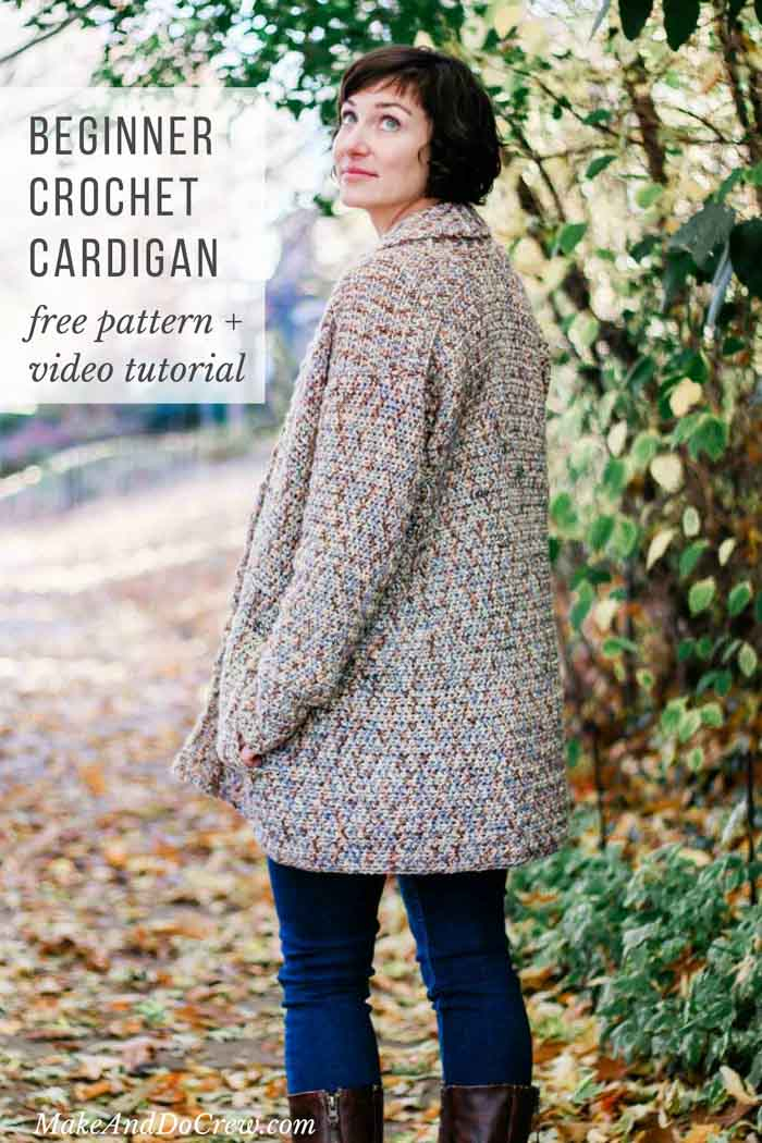 This cotton shawl collar cardigan is a perfect free crochet pattern for beginners! You won't believe how easy this sweater is. Video tutorial included.