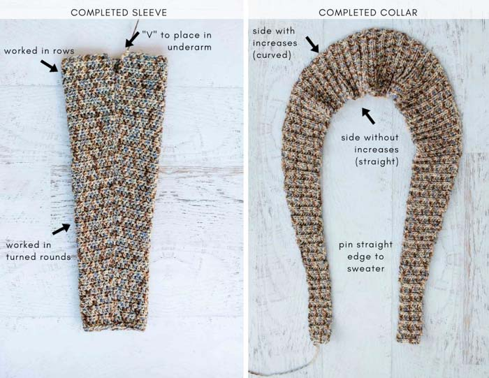 Step-by-step tutorial on how to crochet a cardigan sweater with a rolled collar and pockets.