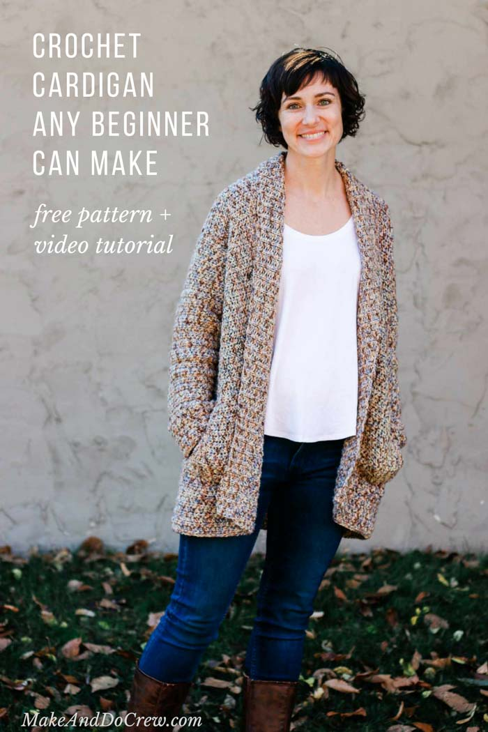 This free crochet cardigan pattern for beginners is SERIOUSLY easy! The main body is worked in one big piece and there's a video tutorial to show you each step. Includes plus sizes. Made with Lion Brand Comfy Cotton Blend (similar to Flikka.)