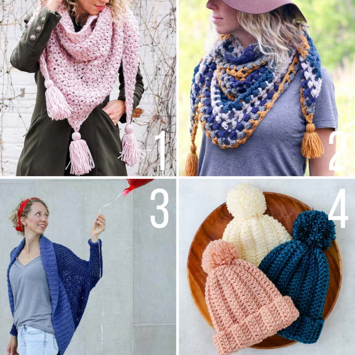 Free, easy crochet patterns featuring Lion Brand Yarn including a basic beanie, easy shrug, puff stitch triangle scarf and bobble stitch scarf with tassels.