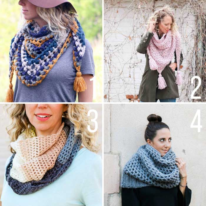 Free crochet scarf patterns with tutorials that includes cowls, triangle scarves and infinity scarves.