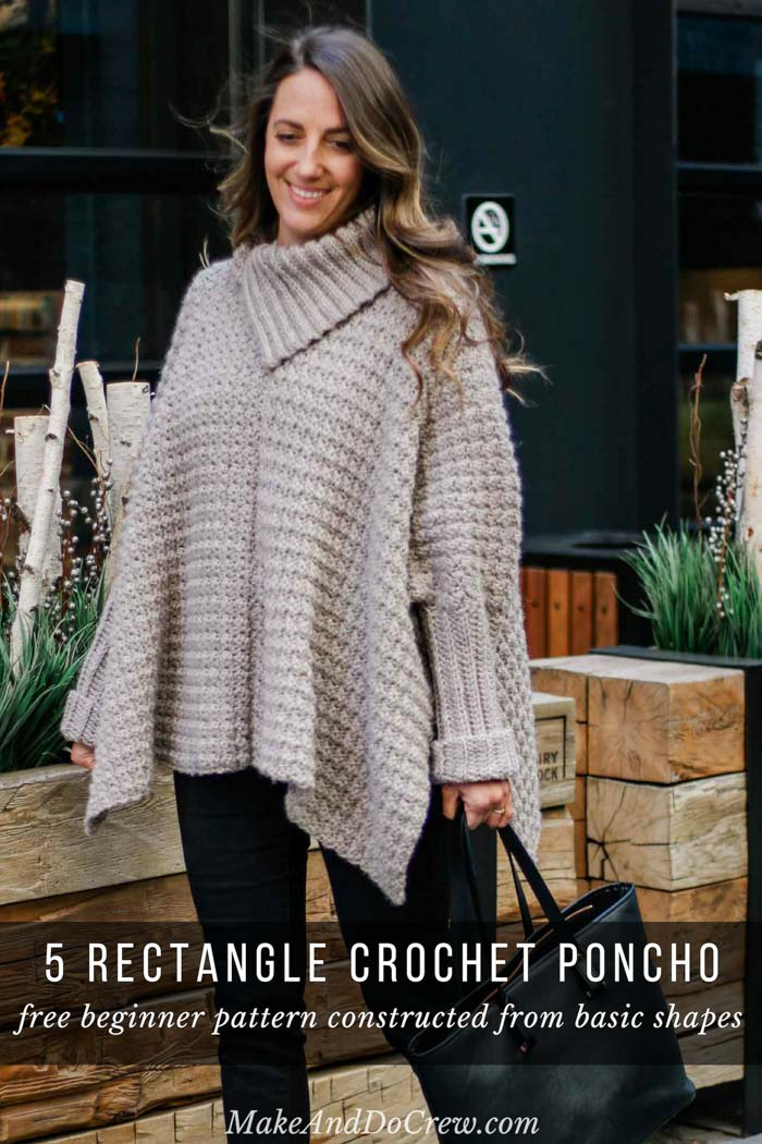 This easy crochet poncho with sleeves is a great free pattern for beginners because it's made entirely from basic rectangles. Free pattern and tutorial featuring Lion Brand yarn.