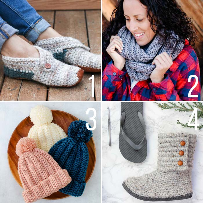 Free patterns: crochet gift ideas including slippers, an infinity scarf, a fast beanie, and crochet boots with flip flop soles.