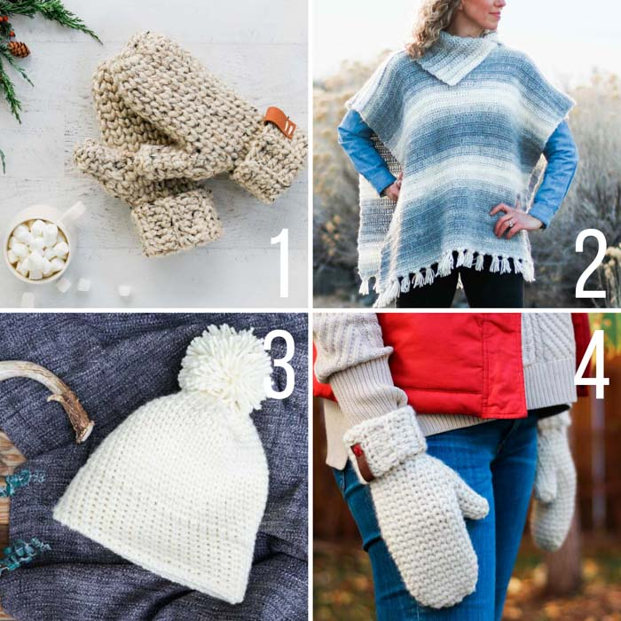 Several free crochet patterns that look like knitting (by using the Waistcoat crochet stitch) including mittens, a beanie and a poncho.