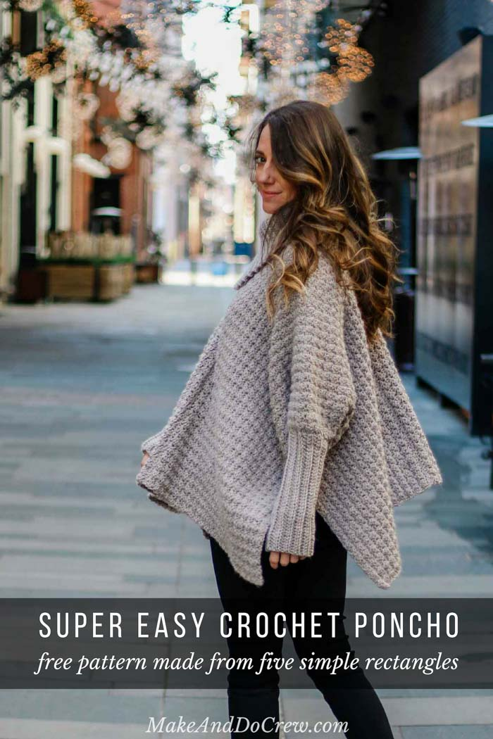 This easy crochet poncho with sleeves looks like a sweater and is made from simple rectangles. Great free pattern for beginners!