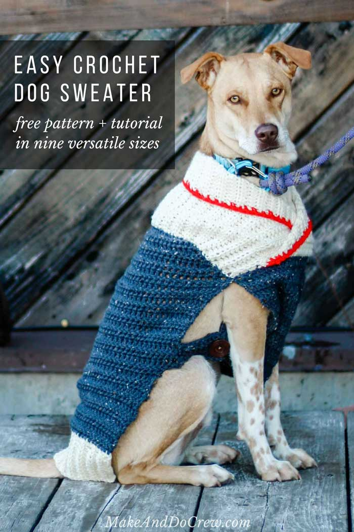 Free pattern! Learn how to make this easy crochet dog sweater with optional buttons. Designed in nine sizes to fit very small to very large dogs, the tutorial includes notes on how to customize sizing. Great for chihuahuas, terriers, yorkies, dachshunds, and big fluffy dogs too.