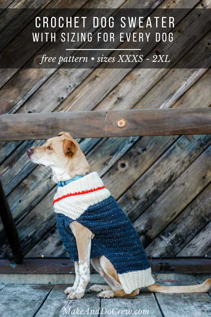 Learn how to wrap up your pup in cozy with this easy crochet dog sweater. Designed in nine sizes to fit very small to very large dogs, the free pattern and tutorial includes notes on how to customize for your furry friend.